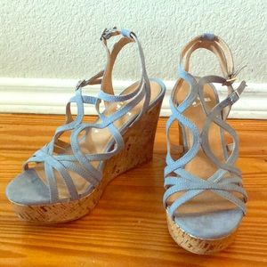 Report baby blue sandal wedges